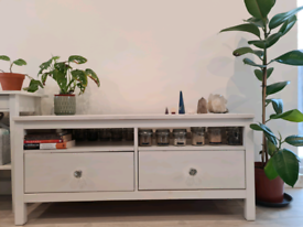 Beautiful solid wood white TV stand.