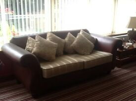 Lovely brown leather and cream/gold fabricThomas Lloyd sofa.