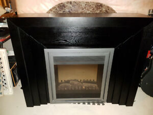 Electric Fireplace with Black Mantle