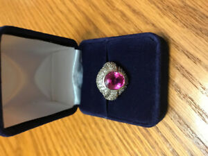 Ladies Genuine pink tourmaline and silver ring