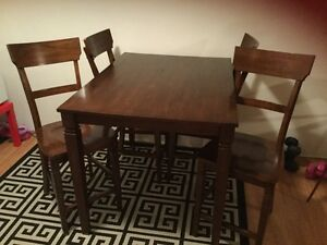 KITCHEN HEIGHT SOLID HARD WOOD TABLE SET-EXCELLENT CONDITION