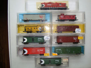 Model Train N scale  CP-38 and 9-different freight cars