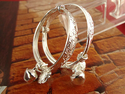 1Pair Adjustable Silver Plated Baby Children Bell Bracelet Bangles Anklet WI