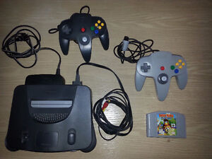 N-64 with 2 Controllers and 1 Game