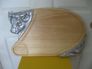 LARGE DELUXE HARDWOOD STEER CARVING BOARD