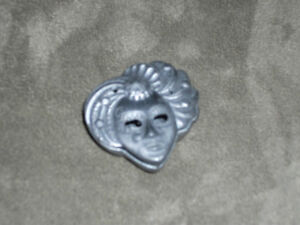 Small Mask Pewter Jewellery Box that is Also a Brooch