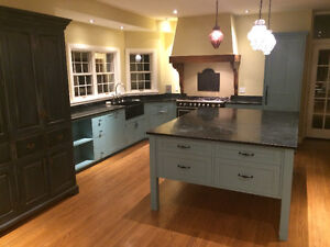 Custom english kitchen w/ large island and soap stone counters
