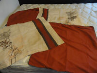 Queen size bed skirt, large pillow shams and accent pillows