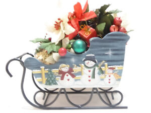 CHRISTMAS HANDCRAFTED LARGE WOOD SNOWMAN SLEIGH WITH DECORATIONS