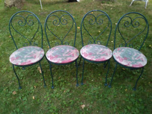 metal wrought iron bistro patio kitchen chairs