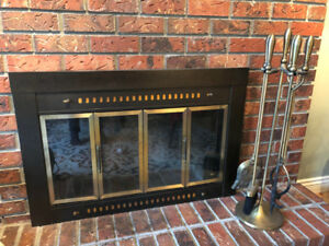 Brass Accent Fire Screen and Solid Brass Fire Tools