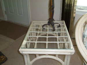 Rattan - Two rectangular glass-top end tables