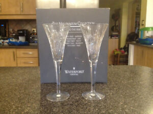 Waterford Crystal Millennium - 2 x Champagne Flutes -PROSPERITY