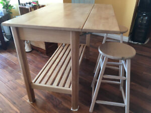 Butcher block island with stools