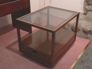 Vintage Teak Smoked Glass Top Pedestal Table with Drawer