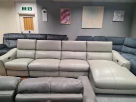 New Genuine Leather corner sofa power recliner
