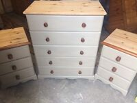 Up Cycled Solid Pine Chest of Drawers+Two Bedside Tables (Can Deliver)
