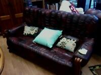 Wine red leather sofa