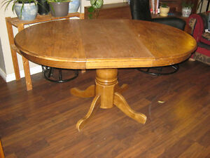 "42"" Round Oak Pedestal Table with 18"" leaf - $125"