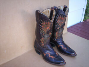 Brahma Brown Leather Mens Cowboy Boots.