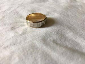 jonc en or 2 couleurs avec motif  unisexe