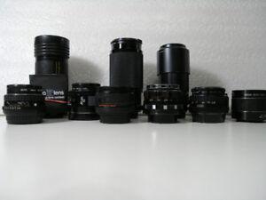 11 objectifs : Pentax, Minolta AF, Pentacon...etc...