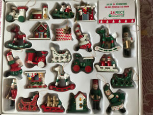 Hand Painted Wood Christmas Ornament 24 piece set - Vintage