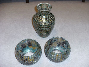 MOSAIC TILE VASE AND TWO GLASS BOWLS ($75 FOR ALL THREE PIECES)