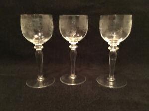 Vintage Bohemian crystal wine hock glasses, Thistle pattern