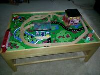 Train Set wooden table with storage below