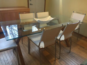 Modern Glass Dining Table and 6 Dining Chairs - OPEN TO OFFERS