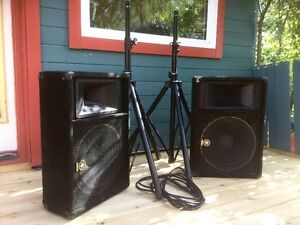 YAMAHA SM15V SPEAKERS WITH STANDS - SET OF 2 FOR $900