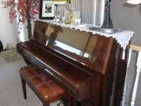 piano with bench(storage for books)