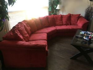 Red Microfibre Sectional Couch