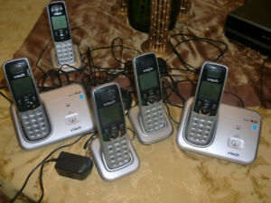 5 cordles handsets, VTECH, cordless phone system, answering mach