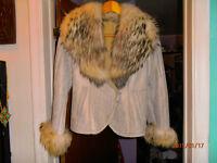 Vest d'hiver en cuir avec col de fourure de RENARD FINN