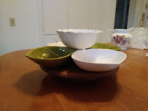 4+1 snack bowls and dip set with turntable