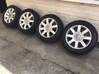 "GENUINE 16"" VW GOLF JETTA CADDY TOURAN ALLOYS w/TYRES - 205/55/16 - SLOUGH"