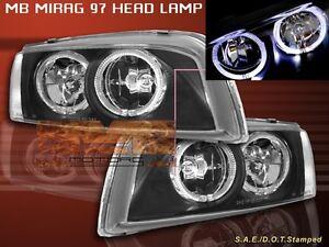 1997-2001 MITSUBISHI MIRAGE HEADLIGHTS TWO HALO JDM BLACK 1998 1999 2000