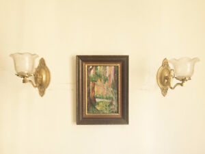Pair of Gas Lamps with Etched Shades (c. 1890)