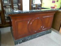 Solid Wood & Marble Hotel Reception Desk/ Shop Counter /Bar For Home /Garden - Can Deliver For £19