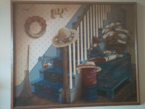 Vintage Farm house painting with wood