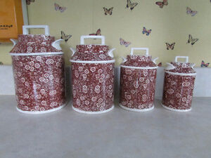 Brown and White Ceramic Containers ( 4)