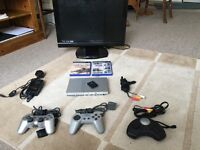 PS2 SLIM SET WITH A TV!!! GREAT BARGAIN, WHOLE SET!!