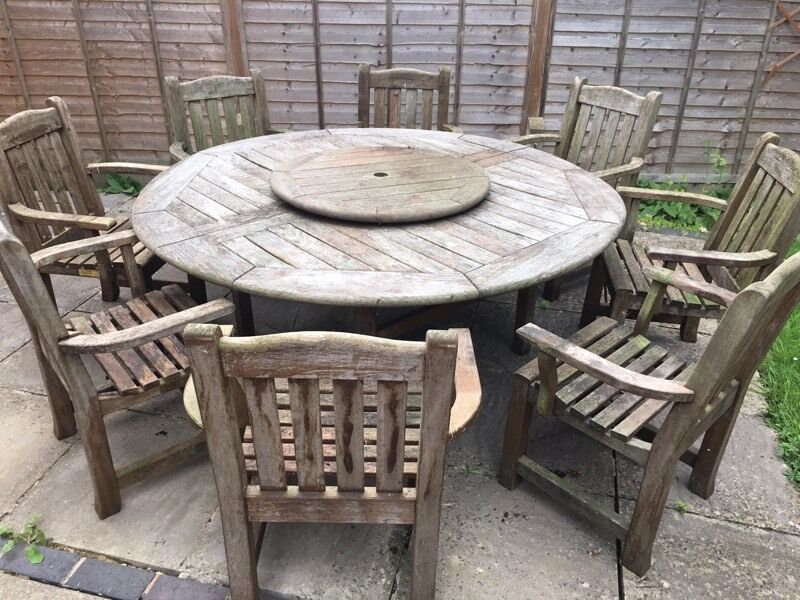 Solid Oak 8 Seater Garden Table   Chairs Made by Woodfurn of Bristol. Solid Oak 8 Seater Garden Table   Chairs Made by Woodfurn of