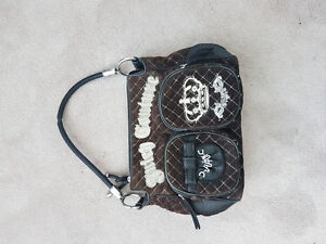 Juicy Couture leather and velvet quilted bag