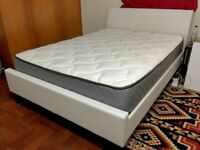 Dreams White Leather Double Bed With Clean Mattress - Free Delivery In Southampton