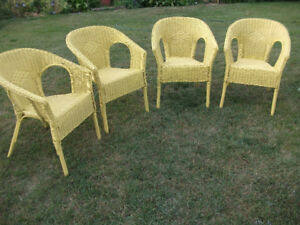Wicker chairs 4 for $125. made from wicker and painted yellow