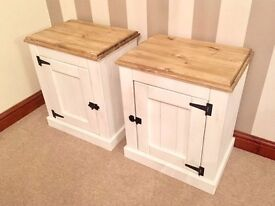Large Rustic Pine Country Shabby Chic Bedside Tables***ONLY £99***