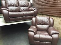 Fultons brown luxury leather reclining sofas